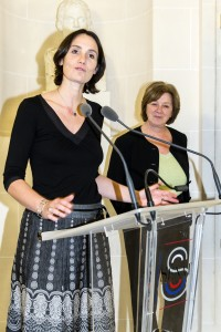 Mme Stéphanie Dupuy-Lyon et la sénatrice du Maine et Loire lors de la remise du prix 2012 au Sénat