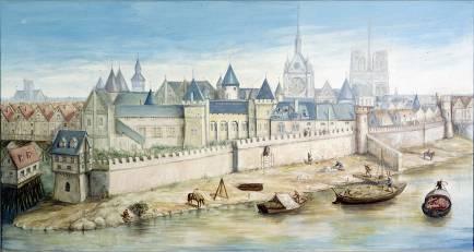 Vue de Paris avec le Palais de la Cité, la Sainte-Chapelle et Notre-Dame, Paris, musée Carnavalet © Pierre Barbier  Roger-Viollet