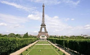 The Champ de Mars with the Eiffel tower in Paris