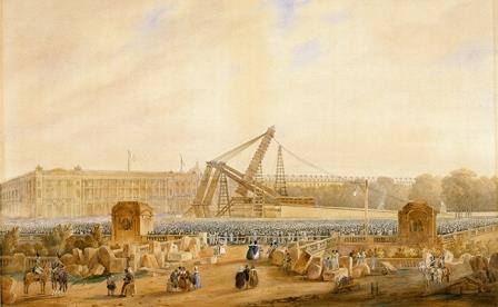 Érection de l'Obélisque de Louxor,25 octobre 1836, détails, aquarelle. Cayrac, 1837 Dépôt du musée du Louvre© Musée national de la Marine/P. Dantec